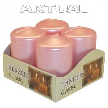 Svíčka válec 4/40/60 METAL růžová perlová