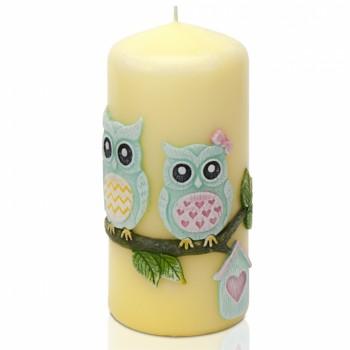 *Svíčka FUNNY OWLS válec 60x130