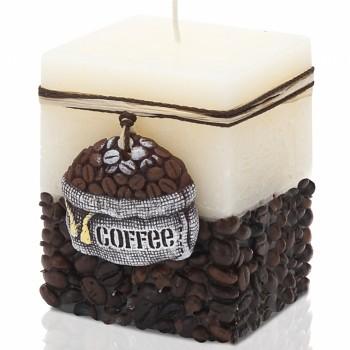 Svíčka rustic COFFEE kvádr 70x70x90
