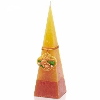 Svíčka rustic ORANGE pyramida 240