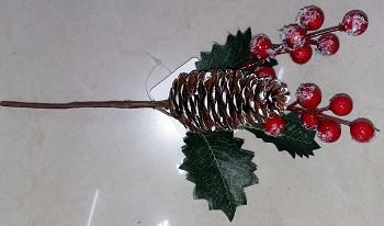 Zápich vánoce šiška+kuličky 24cm