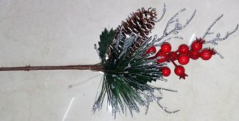 Zápich vánoce šiška+kuličky 35cm