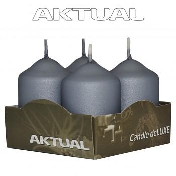 Svíčka válec 4/40/60 METALICKÁ deLUXE Grey