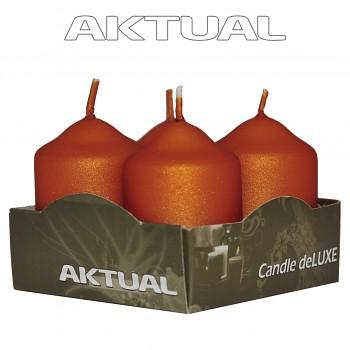Svíčka válec 4/40/60 METALICKÁ deLUXE Orange